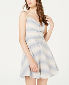 Trixxi Juniors' Striped Ruched Fit & Flare Dress