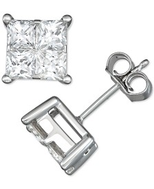 Diamond Seamless Cluster Princess Stud Earrings (2 ct. t.w.) in 14k White Gold
