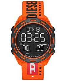 Men's Digital Crusher Orange Canvas Strap Watch 46mm