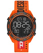 fd13a8085426 Diesel Men s Digital Crusher Orange Canvas Strap Watch 46mm