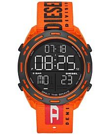 Diesel Men's Digital Crusher Orange Canvas Strap Watch 46mm