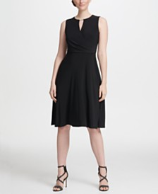 DKNY Logo Cutout Neck Jersey A-line Dress