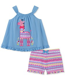 Kids Headquarters Baby Girls 2-Pc. Giraffe Tank Top & Printed Shorts Set