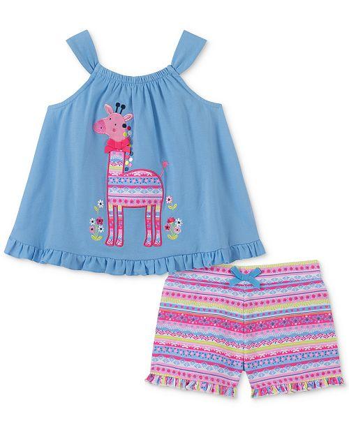 Kids Headquarters Baby Girls 2-Pc. Giraffe Tank Top & Printed Shorts Set