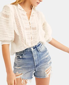 Free People Roselind Mixed-Media Cotton Peasant Top
