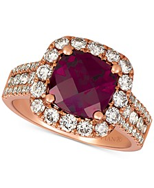 Raspberry Rhodolite® (3-5/8 ct. t.w.)& Nude Diamonds (1-1/3 ct. t. w.) Statement Ring in 14k Rose Gold