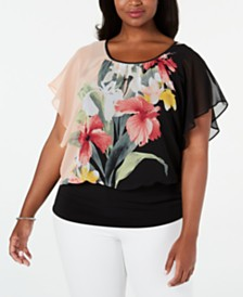 JM Collection Plus Size Printed Flutter-Sleeve Top, Created for Macy's