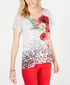 JM Collection Petite Embellished Flutter-Sleeve Top, Created for Macy's