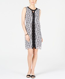 JM Collection Petite Stud-Trim Printed Overlay Dress, Created for Macy's