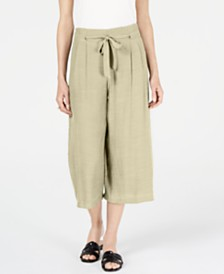 JM Collection Petite Tie-Front Textured Capri Pants, Created for Macy's