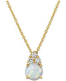 "Opal (7/8 ct. t.w.) & Diamond (1/6 ct. t.w.) 16"" Pendant Necklace in 14k Gold"