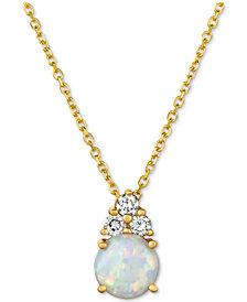 "Opal (7/8 ct. t.w.) & Diamond (1/6 ct. t.w.) 16"" Pendant Necklace in 14k Gold"