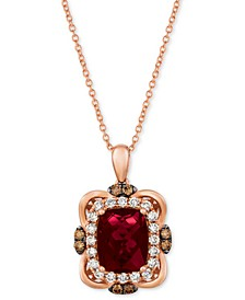 "Raspberry Rhodolite (3-1/6 ct. t.w.) & Diamond (5/8 ct. t.w.) 18"" Pendant Necklace in 14k Rose Gold"