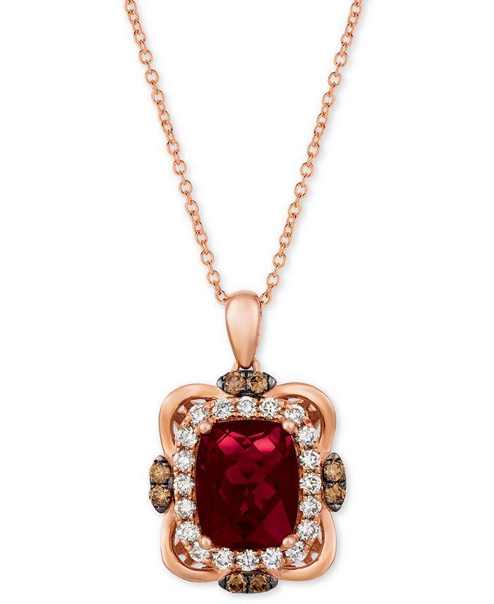 "Le Vian - Raspberry Rhodolite (3-1/6 ct. t.w.) & Diamond (5/8 ct. t.w.) 18"" Pendant Necklace in 14k Rose Gold"
