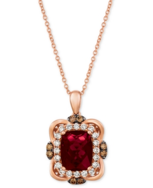 "Raspberry Rhodolite (3-1/6 ct. t.w.) & Diamond (5/8 ct. t.w.) 18"" Pendant Necklace in 14k Rose Gold"