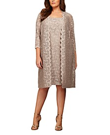 Plus Size Lace Sheath Dress and Jacket