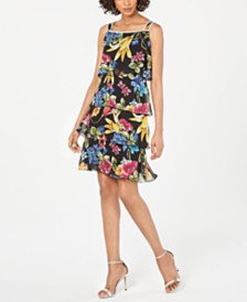 MSK Tiered Floral-Print Dress