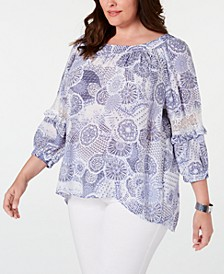 Plus Size Printed Statement-Sleeve Top