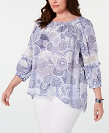 NY Collection Plus Size Printed Statement-Sleeve Top