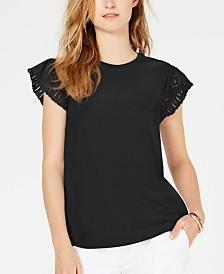 MICHAEL Michael Kors Cotton Lace-Sleeve T-Shirt, in Regular & Petite Sizes
