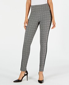 I.N.C. Glen Plaid Shaping Leggings with Extended Sizes, Created for Macy's