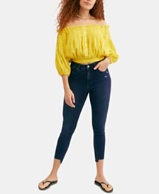 Free People Destroy Curvy-Fit Frayed-Hem Jeans