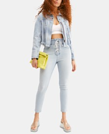 Free People Lovers Knot Curvy-Fit Lace-Up Jeans