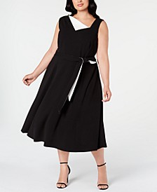 Plus Size Asymmetrical-Neck Midi Dress