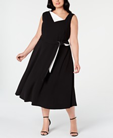 Calvin Klein Plus Size Asymmetrical-Neck Midi Dress
