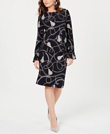 Nine West Printed Long-Sleeve Blouse & Skirt