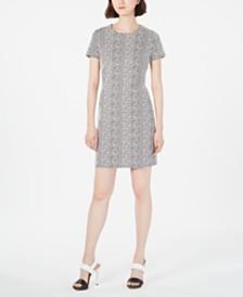 Calvin Klein Petite Jacquard Ponté-Knit Sheath Dress