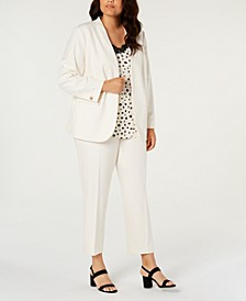 Trendy Plus Size Bi-Stretch Jacket, Pants & Printed Camisole, Created for Macy's