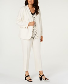Bar III Plus Size Bi-Stretch Jacket, Pants & Printed Camisole, Created for Macy's