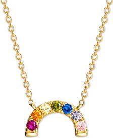 "Cubic Zirconia Rainbow Arch 18"" Pendant Necklace in 18k Gold-Plated Sterling Silver, Created for Macy's"