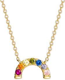 "Giani Bernini Cubic Zirconia Rainbow Arch 18"" Pendant Necklace in 18k Gold-Plated Sterling Silver, Created for Macy's"