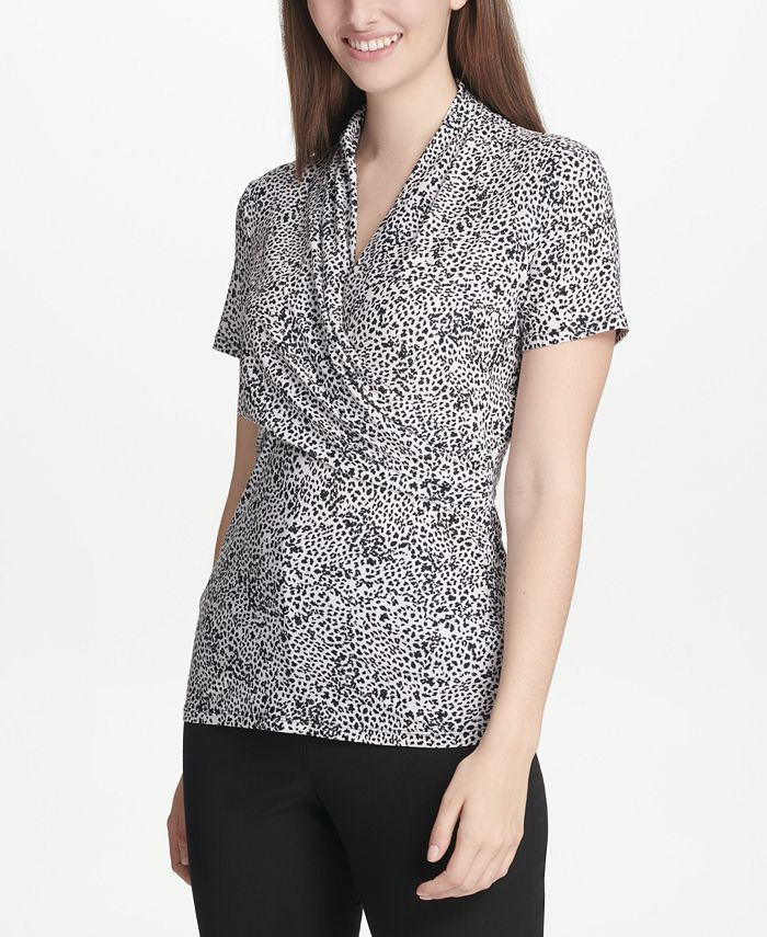 DKNY - Printed Side-Ruched Top