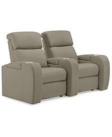 Perison 2-Pc. Leather Power Theater Sectional Sofa