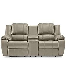 "Kovin 81"" Leather Recliner Loveseat with Console"