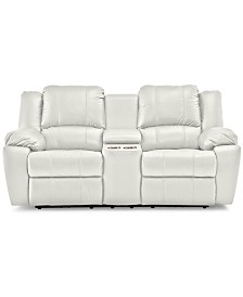 """Kovin 81"""" Leather Recliner Loveseat with Console"""