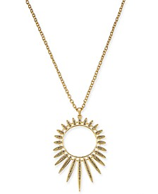 "Gold-Tone Crystal Sun Spike Long Pendant Necklace, 32"" + 3"" extender, Created for Macy's"