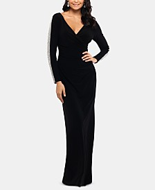 XSCAPE Beaded Long-Sleeve Gown