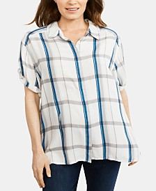A Pea In The Pod Maternity Gingham Shirt