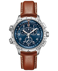 Men's Swiss Chronograph Khaki X-Wind GMT Brown Leather Strap Watch 46mm