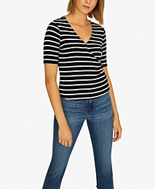 Essentials Striped Faux-Wrap Top