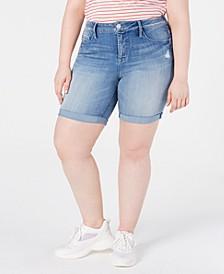 Trendy Plus Size Weekend Denim Bermuda Shorts