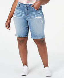 Trendy Plus Size Weekend Ripped Denim Bermuda Shorts