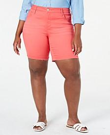 Trendy Plus Size Weekend Color Denim Bermuda Shorts