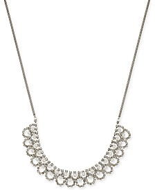 """I.N.C. Silver-Tone Crystal & Imitation Pearl Statement Necklace, 18"""" + 3"""" extender, Created for Macy's"""