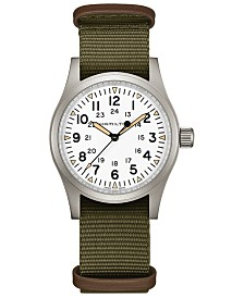 Hamilton Men's Swiss Mechanical Khaki Field Green Nato Strap Watch 38mm