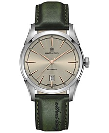Men's Swiss Automatic Spirit Of Liberty Green Leather Strap Watch 42mm